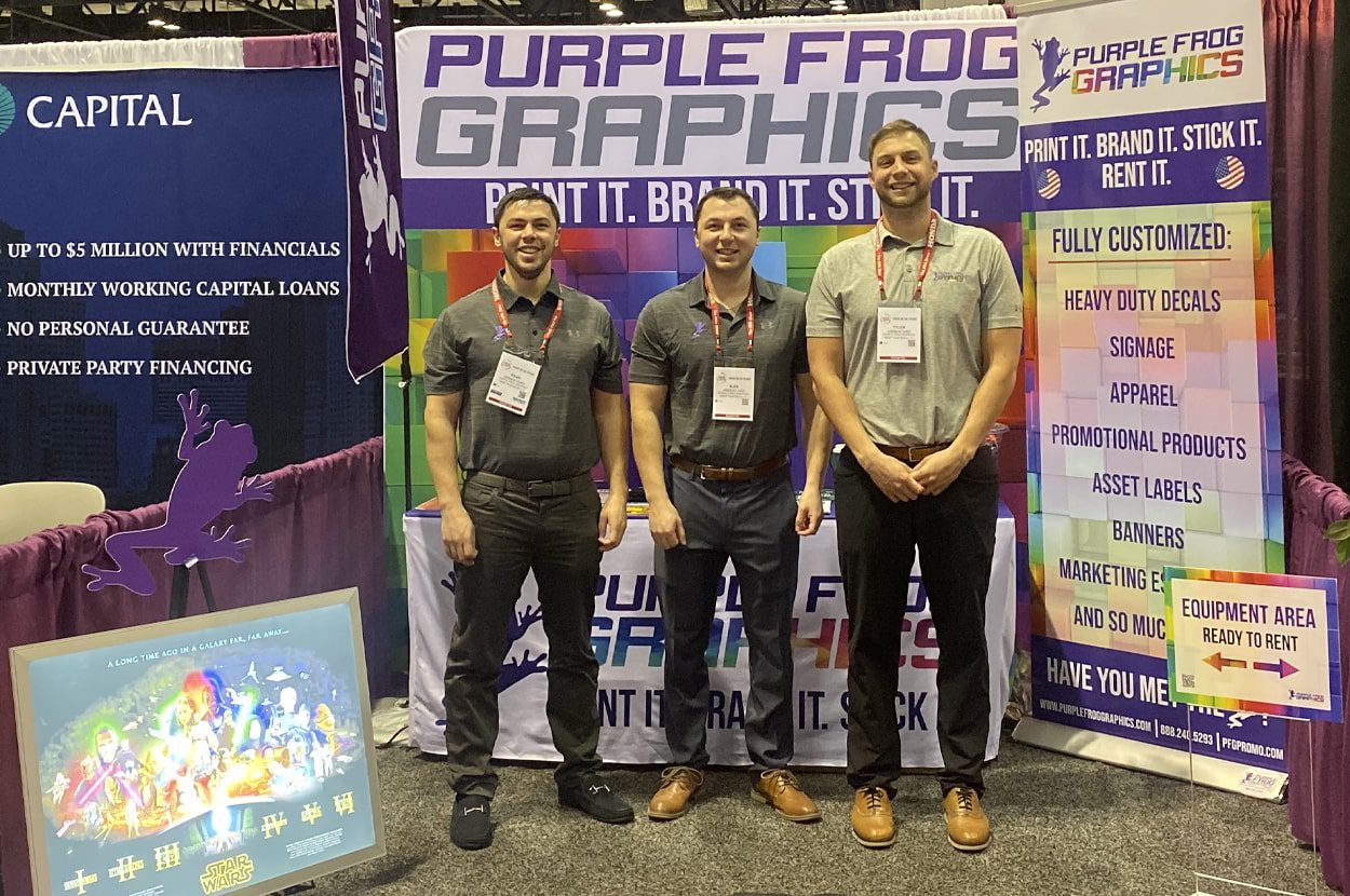 Vinyl backdrops for tradeshows and events by Purple Frog Graphics